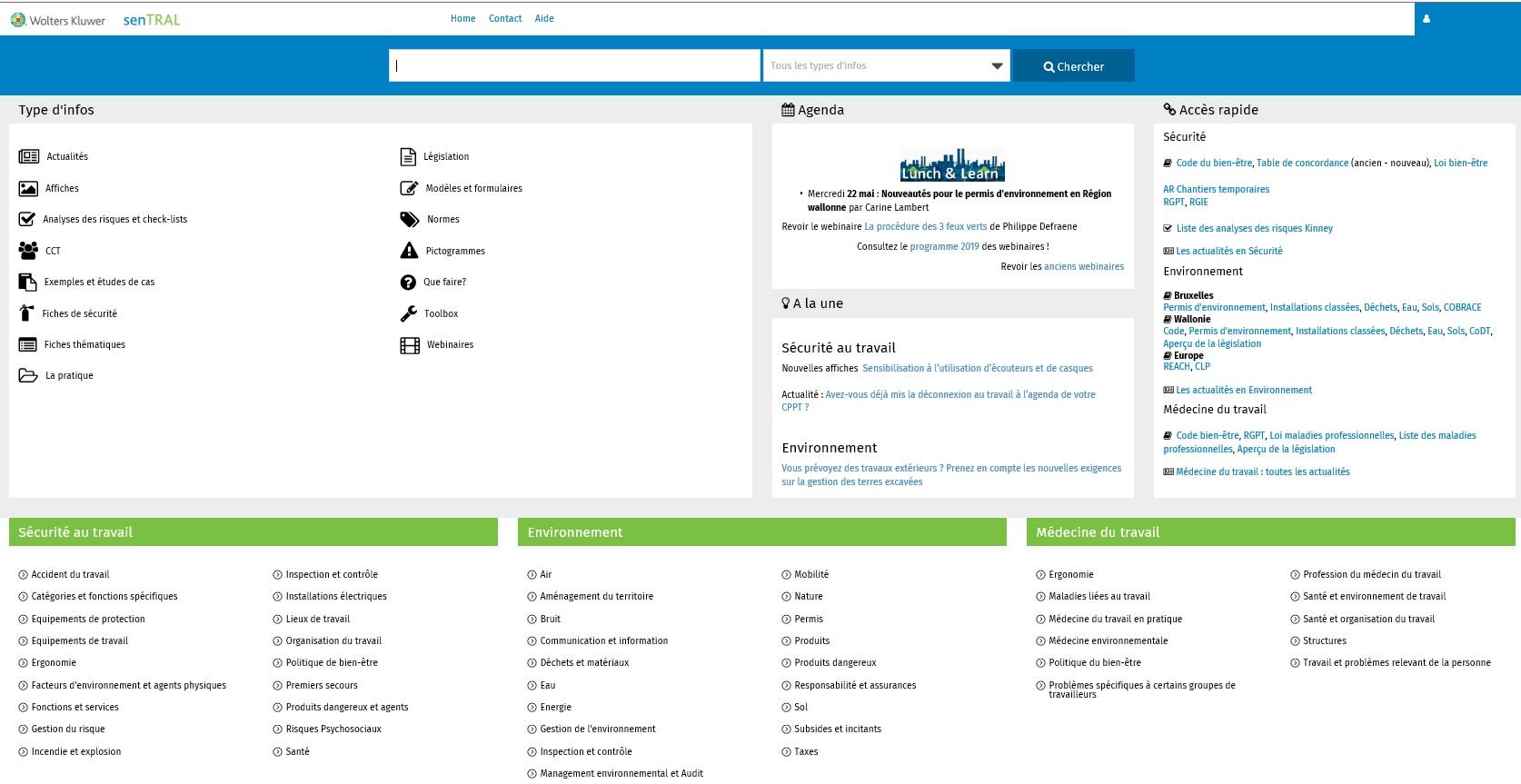 SenTRAL : capture d'écran de la page d'accueil